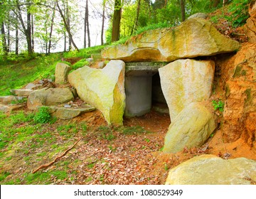 Ancient stone monument. Menhirs and dolmens near Tesovice. Famous place for every year rituals of fertility treatment.  Mysterious landmark in Czech Republic, Central Europe.