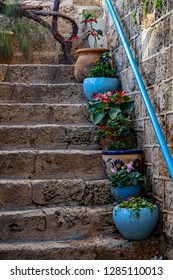 Ancient stone narrow street in Old Jaffa, ancient port,  part of Tel Aviv-Yafo, Israel