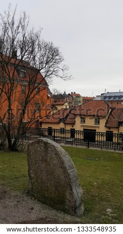 ancient stone near Uppsala Cathedral, Sweden