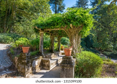 Ancient stone pergola with climbing plants and bench in public garden. Pena Park, Sintra - Cascais Natural Park, Lisbon Region, Portugal, Southwestern Europe