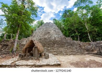 Ancient stone pyramid in the Mayan ruins of Coba, Yucatan, Mexico
