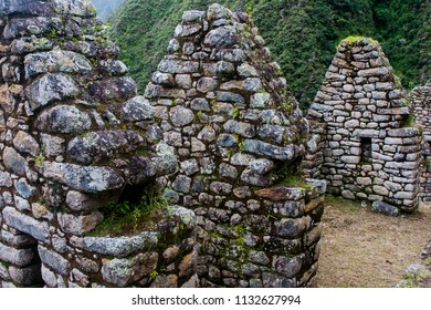 Ancient stone ruins of an Inca town on the Inca Trail in the Andes mountains. Cusco. Peru. South America. No people.