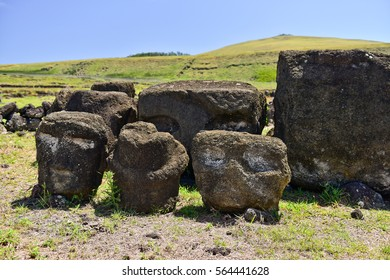 Ancient stone statues  Easter island, Chile