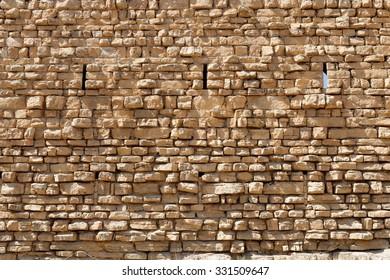 Ancient stone wall of the Kerak castle in Jordan