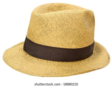 Ancient straw hat similar to a Panama jipijapa isolated over white background