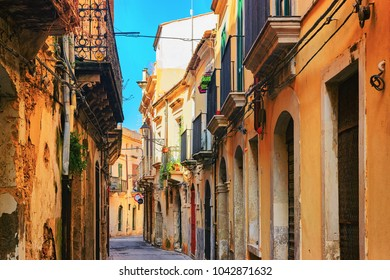 Ancient street in Siracusa, Sicily, Italy