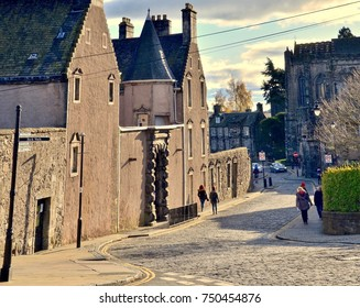 Ancient street in Stirling, a medieval town  town in Central Scotland. UK. November 2017
