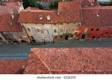 ancient street from the tower in saluzzo, a beautiful historic city in the north of italy