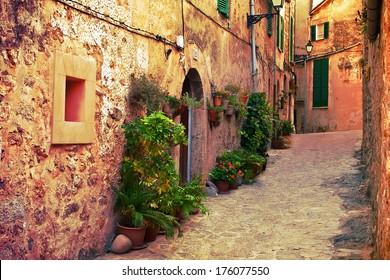 Ancient street in Valldemossa village, Mallorca, Spain