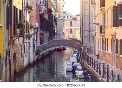 ancient streets, bridge and canals of Venice Italy
