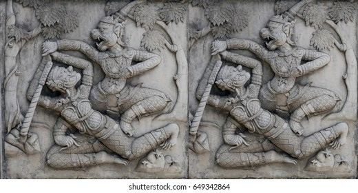 Ancient stucco, The ancient stucco wall in public temple of Thailand use for stucco background