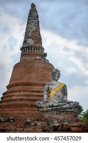 Ancient Stupa and Buddha Statue in Ayutthaya, Thailand