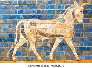 Ancient sumerian tle panel depicting animals