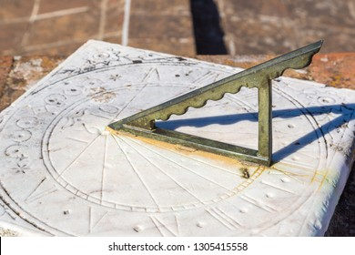 Ancient sundial in Evora, Portugal in a beautiful summer day