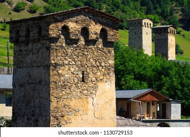 Ancient Svan towers in mountain village in Mestia, Svaneti, Georgia