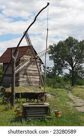 Ancient sweep and windmill. A museum of the Ukrainian life and culture.