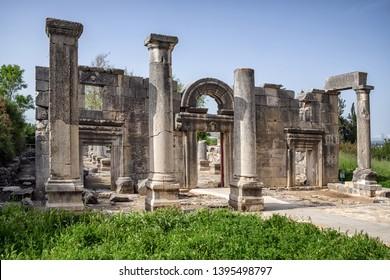 Ancient synagogue ruins at Kfar Bar'am. Bar'am National Park in Israel