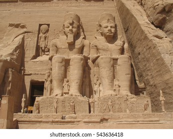 the ancient temple of Abu Simbel, with statues and engravings, Egypt