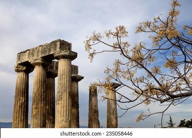 Ancient Temple of Apollo. Corinth, Greece.