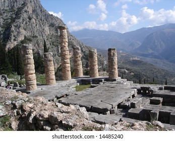 Ancient Temple of Apollo in Delphi, Greece