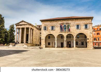 Ancient Temple Of Augustus With Corinthian Columns And Communal Palace - Pula, Istria, Croatia