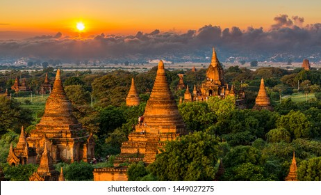 Ancient temple in Bagan after sunset, Myanmar temples in the Bagan Archaeological Zone, Myanmar.