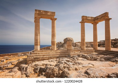 Ancient temple columns in Lindos. Rhodes, Greece.