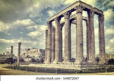 ancient Temple of Olympian Zeus , Athens, Greece