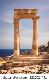 Ancient temple remains in Lindos. Rhodes, Greece.