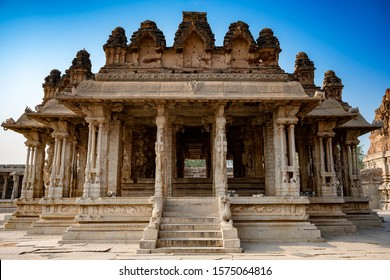 Ancient temple with stone pillars that are said to be musical. Public tourism place in India.