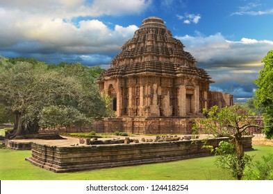 Ancient temple of the Sun God in Konark, Orissa, India. General view of temple