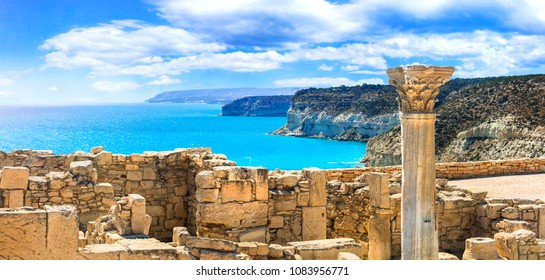 Ancient temples and turquoise sea -main touristic attractions of Cyprus island
