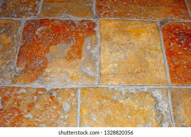 Ancient terracotta floor tiles in Nativity church, Bethlehem