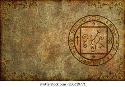 An ancient, textured paper page background with mystical magical occult sigil or seal and blank space for your copy.