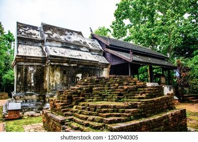 Ancient Thai church in Phra That Pu Khao temple, Thailand.
