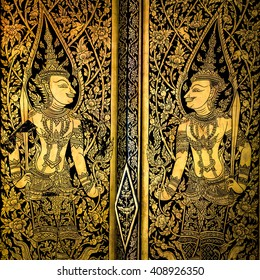 ancient thai painting on wall in thailand buddha temple