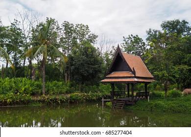 Ancient Thai Pavilion near swamp