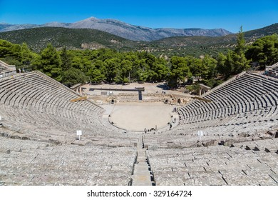 Ancient theater Epidaurus, Argolida, Greece in a summer day