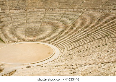 Ancient theater in Epidaurus, Greece. The theater is the largest surviving theater in Greece and marveled for its exceptional acoustics