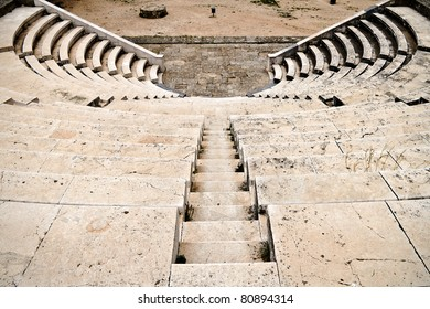 Ancient theater (Hellenic Odeon) at Rhodes island, Greece (upper view)