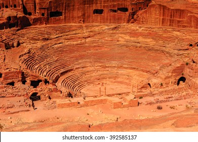 Ancient theater in Petra (Rose City), Jordan. The city of Petra was lost for over 1000 years. Now one of the Seven Wonders of the Word