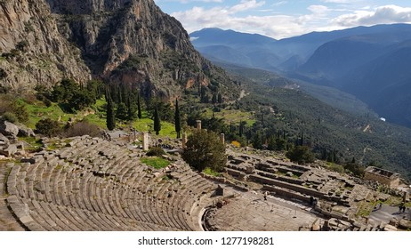 Ancient theater remains in the archaeological site of Delphi in Greece