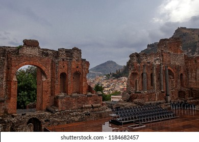 Ancient theater in Taormina, Sicily, Italy
