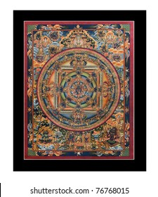"Ancient tibetan tangka ""Wheel of life"" (Mandala) isolated on the white background"