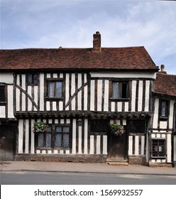 An ancient timber framed house, located in the village of Lavenham, Suffolk, England, UK.
