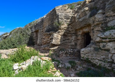 Ancient Tombs in Agios Georgios Pegeia village. Cyprus island