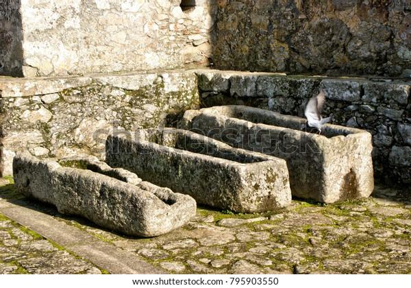 Ancient tombs in Santa Maria da Feira castle, Portugal