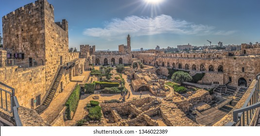 The ancient Tower of David in the old City of Jerusalem, Israel