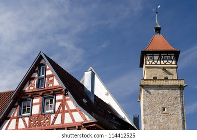 Ancient tower with half timbered house in Germany