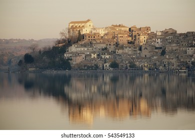 Ancient town of Anguillara Sabazia overlooking the waters of lake of Bracciano in the north of Rome